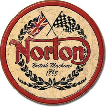 Norton Motorcycle Round Tin Sign