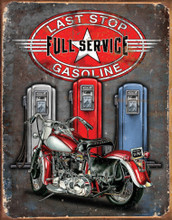 "Last Stop Gasoline Motorcycles ""Distressed Look"" Tin Sign"