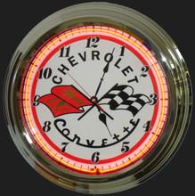 Corvette C2 Logo Neon Clock