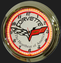 Corvette C6 Logo Neon Clock