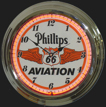 Phillips 66 Aviation Gasoline Neon Clock