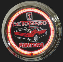 Detomaso Pantera Red Car Neon Clock