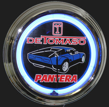 Detomaso Pantera Blue Car Neon Clock