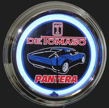 Detomaso Pantera Blue Car Neon Clock