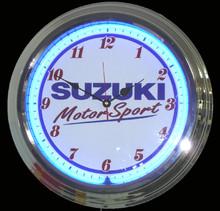 Suzuki Motorcycle Motorsports Neon Clock