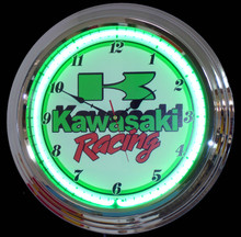 Kawasaki Motorcycle Racing Neon Clock