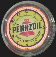 Pennzoil Oil Neon Clock