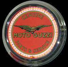 Moto Guzzi Motorcycle Parts & Service Neon Clock
