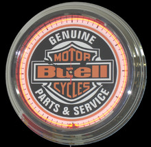 Buell Motorcycles Parts & Service Neon Clock