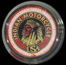 "Indian Motorcycle ""America's Pioneer"" Neon Clock"
