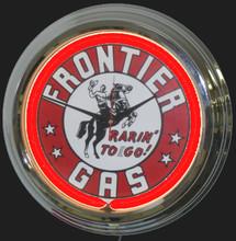 Frontier Gasoline Neon Clock