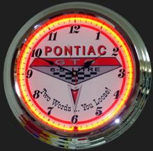 Pontiac GTO 6.5 Litre Logo Neon Clock