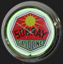 Sunray Gasoline Neon Clock