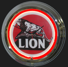 Lion Gasoline Neon Clock