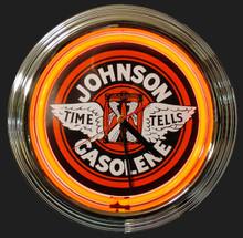Johnson Gasoline Neon Clock