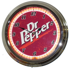 Dr Pepper Neon Clock