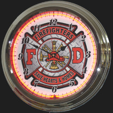 Firefighters Shield Neon Clock