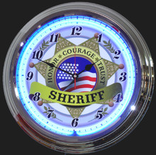 Sheriff On Duty Neon Clock