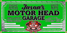Motor Head Garage Personalized Wall Banner