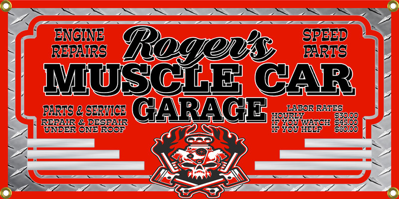 Muscle Car Garage Personalized Wall Banner Crusin The Past