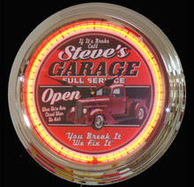 Personalized Garage Neon Clock Dodge Fans