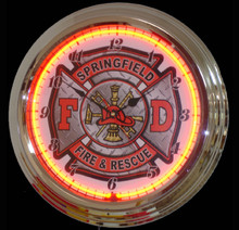 Personalized Fire Department Diamond Plate Neon Clock