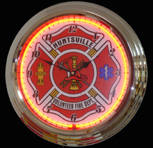 Personalized Fire Department EMT Neon Clock