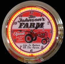 Personalized Farm Tractor Neon Clock