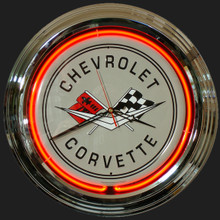 Corvette Crossed Flags Logo Neon Clock