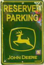 John Deere Reserved Parking Green Face Metal Sign