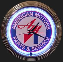 American Motors Parts & Service Neon Clock