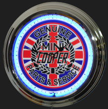 Mini Cooper Classic Parts & Service Neon Clock