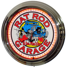 Rat Rod Garage Neon Clock