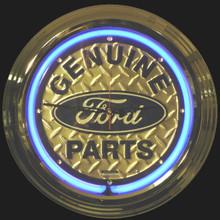 Ford Genuine Parts Diamond Plate Neon Clock