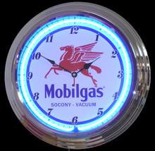Mobilgas Gasoline Neon Clock