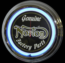 Norton Motorcycle Factory Parts Neon Clock