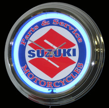 Suzuki Motorcycle Parts & Service Neon Clock