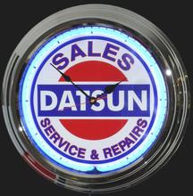 Datsun Sales & Service Neon Clock