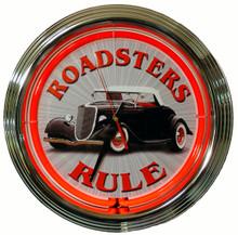 Roadsters Rule Neon Clock