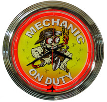 Mechanic On Duty Neon Clock