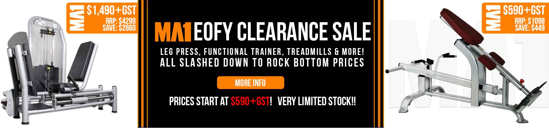 MA1 End of Financial Year Clearance Sale - Leg Press, Functional Trainer, Treadmills & More! Prices start from $590+gst!