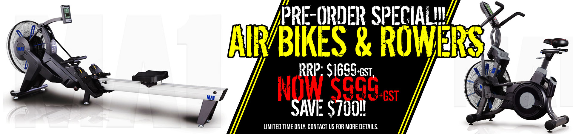 Air Bikes & Rowers. Pre-Order Special!