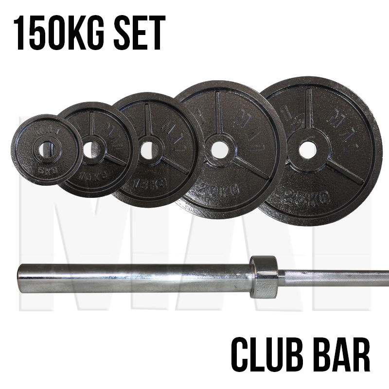 MA1 150kg Cast Iron Weight Plates & Club Bar