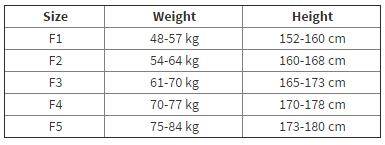 Female BJJ Gi Size Chart