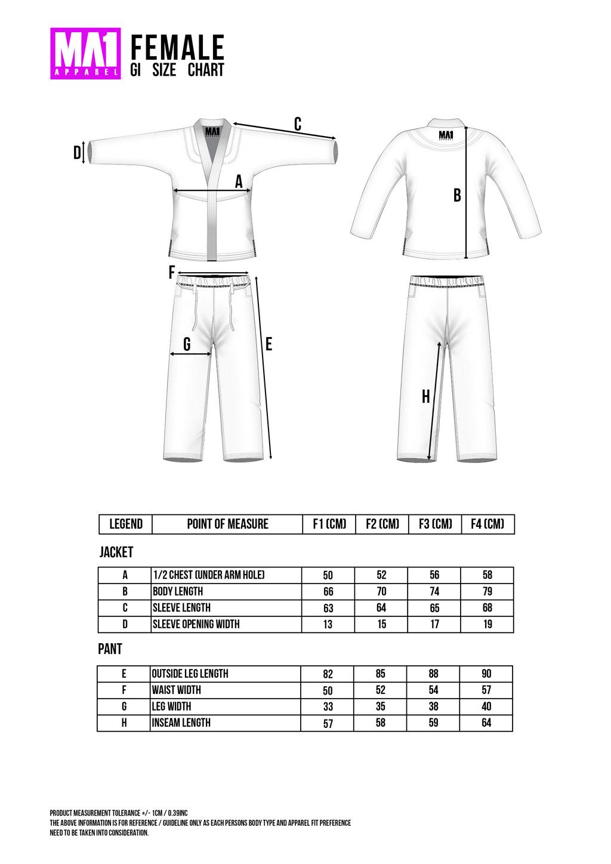 Ultra Light Female BJJ Gi Size Chart