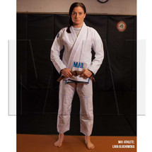 MA1 Athlete Livia Gluchowska - MA1 Female Premium Comp Kimono - White, BB Blue & Grey