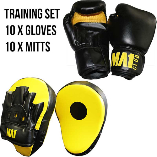 Boxing Training Set; 10 Boxing Gloves & 10 Focus Mitts. Ideal for boxing gym, pt studios and group sessions.