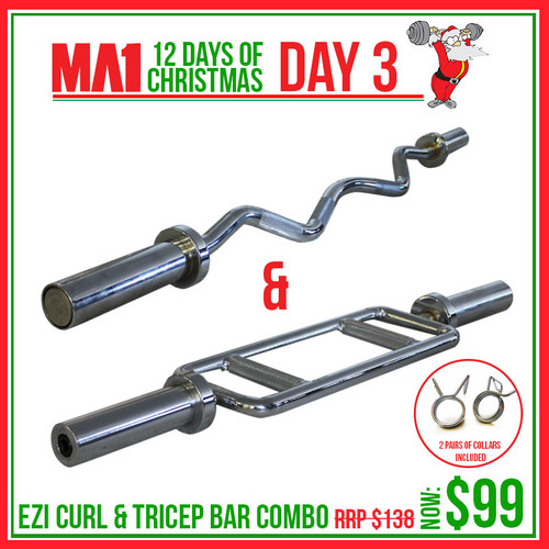 Day 3: Ezy Curl Bar & Tricep Bar Combo with Collars $99