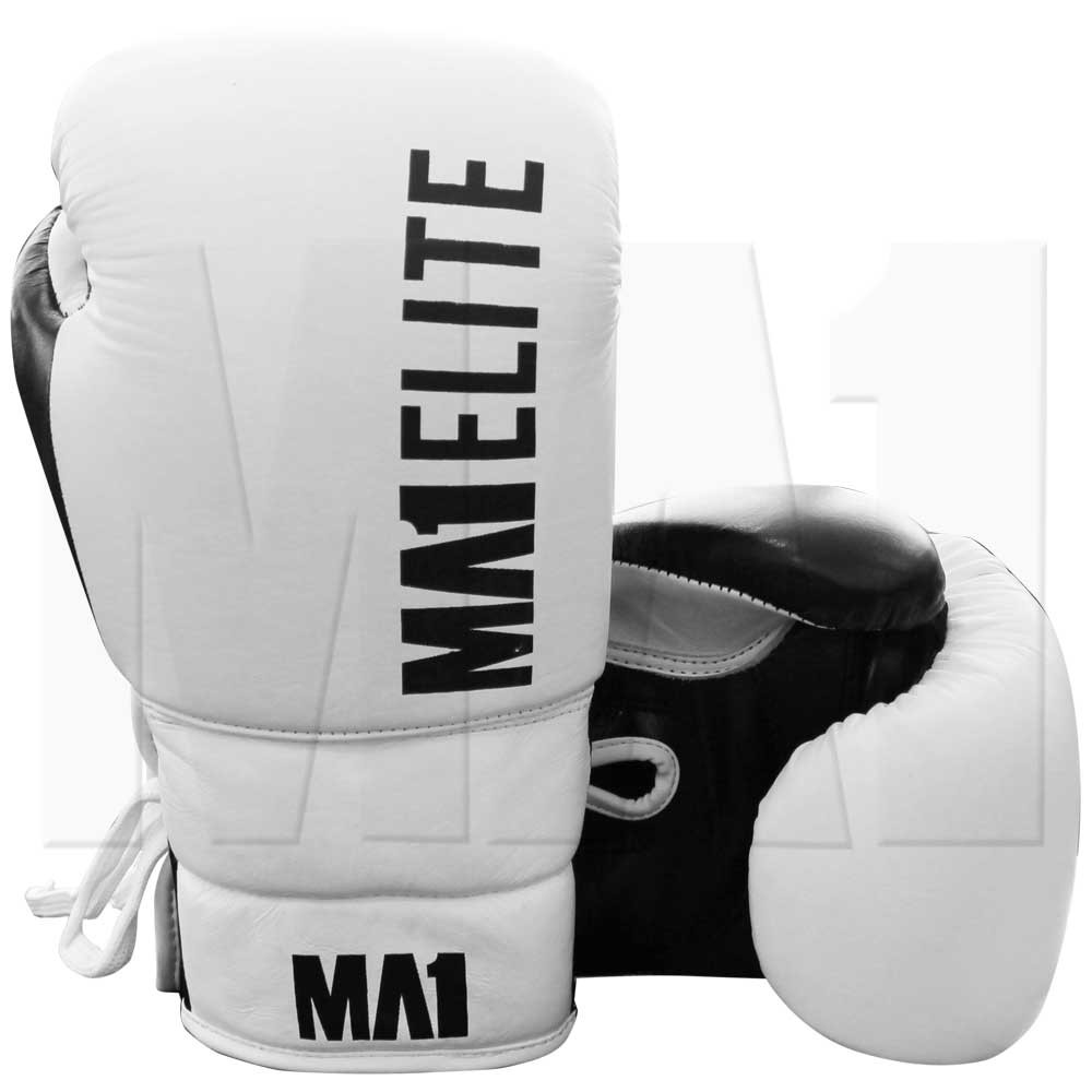 MA1 Elite Leather 10oz lace up boxing Gloves - White
