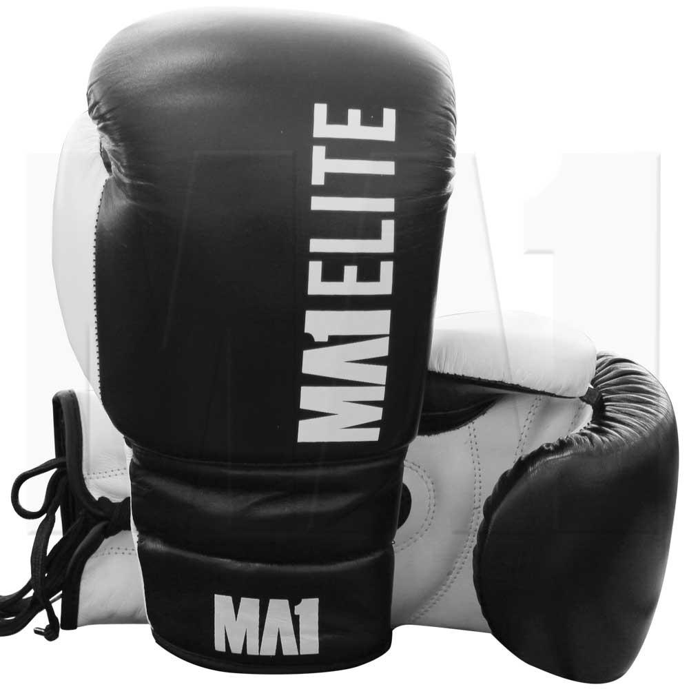 MA1 Elite Lace Up Boxing Gloves - Black
